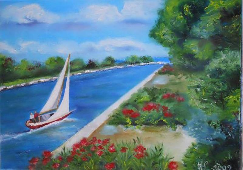 Voilier sur le canal de Port Camargue