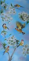 Chardonnerets et cerisier en fleurs (VENDU)