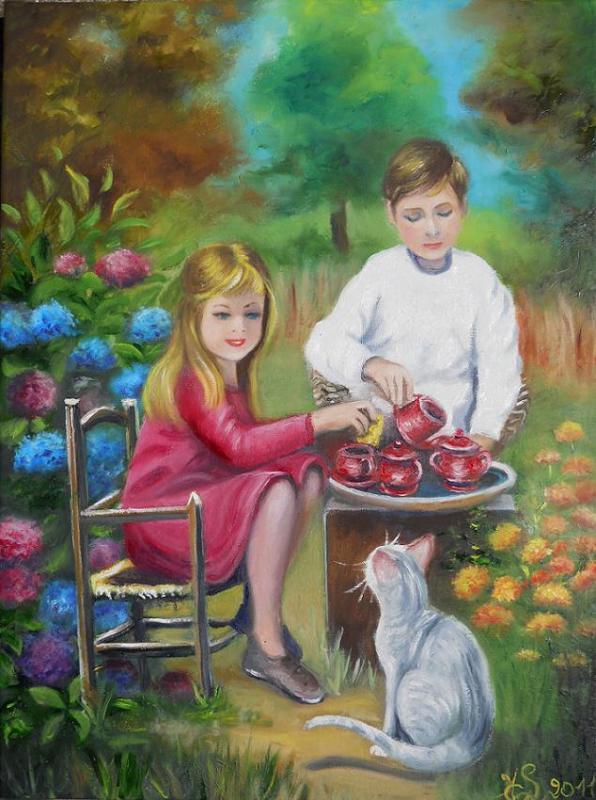Dinette au jardin