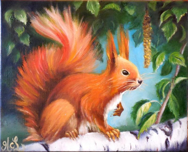 Ecureuil sur branche de bouleau (VENDU)