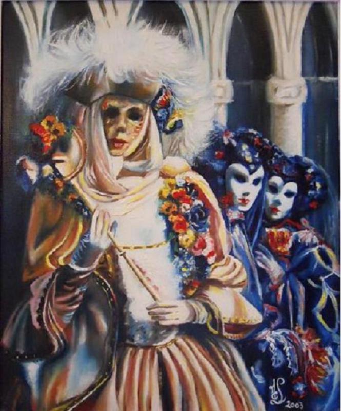 Carnaval de Venise: Groupe au masque blanc
