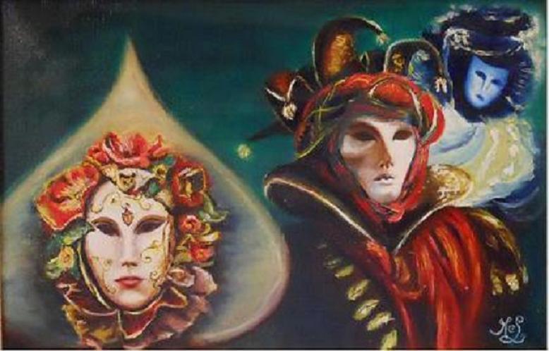 Carnaval de Venise: Groupe au masque rouge