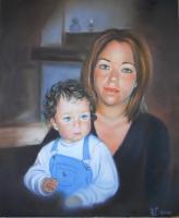 Une jeune maman et son petit garçon (VENDU)