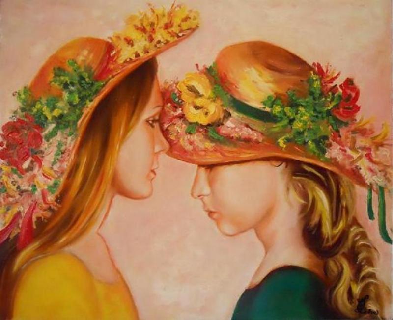 Jeunes filles aux chapeaux fleuris (collection privée)