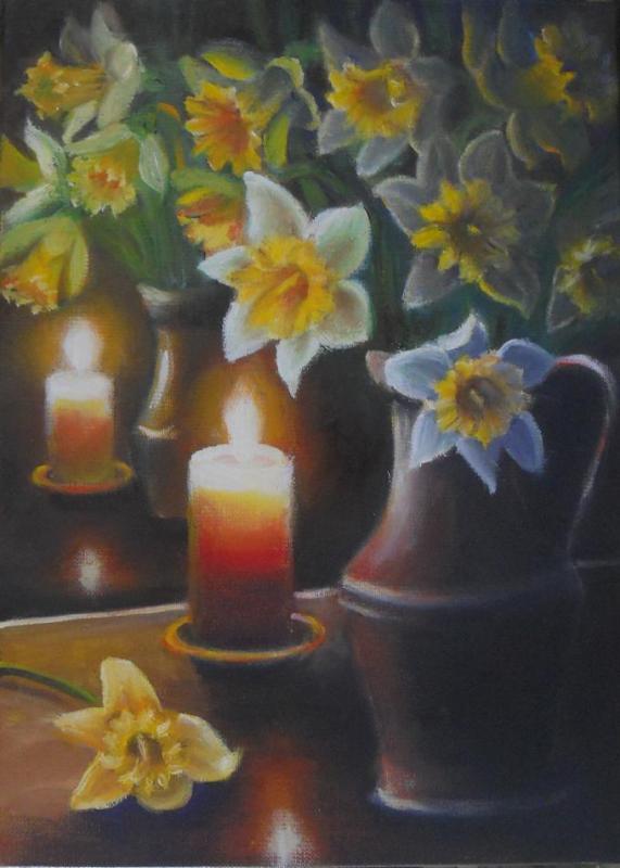 Reflets d un bouquet de jonquilles