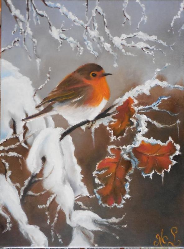 Rouge gorge en hiver (VENDU)